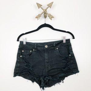American Eagle Womens Black Distressed Shorts Sz 8
